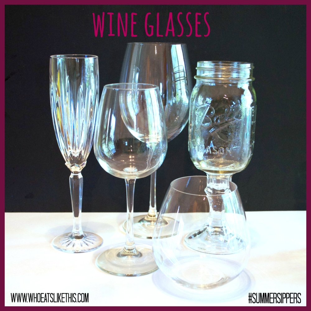 Variety of wine glasses
