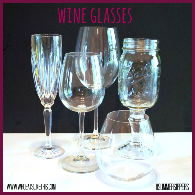 Variety of wine glasses