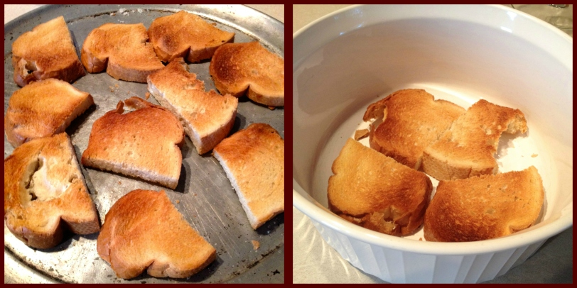 Toast Bread-Place one layer in bottom of Casserole dish